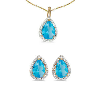 10k Yellow Gold Pear Blue Topaz And Diamond Earrings and Pendant Set