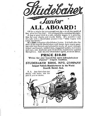 1907 Studebaker- Kids Wagon- Pulled by Dog or Goat-Cost $10-Original Magazine Ad