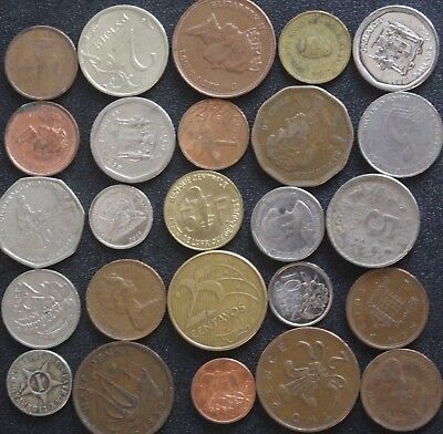 Lot Of 25 Worldwide Foreign Coins-Circulated-(Lot B)