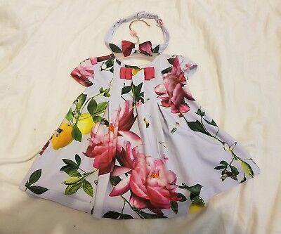 ted baker girls floral dress and head band 0-3