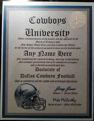 Dallas Cowboys Personalized Diploma w/embossed silver seal, NFL Fan Mancave Must
