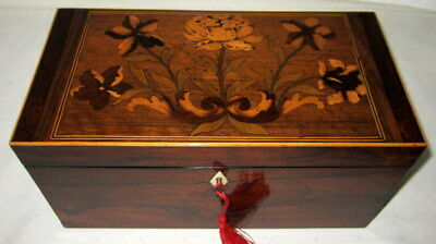 Beautiful antique rosewood & marquetry box,with inside tray & key