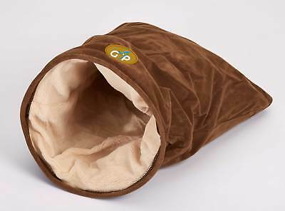 Nordic Cat Bag Brown Suedette & Fleecy Crinkle Sound Filling Kitten Bed
