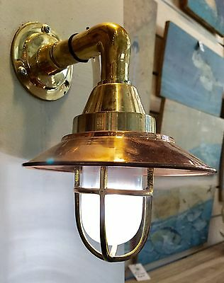 Vintage Nautical Brass Ship Bulkhead Light With Copper Shade