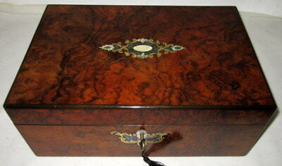 BEAUTIFUL ANTIQUE INLAID FIGURED WALNUT WRITING SLOPE with working key