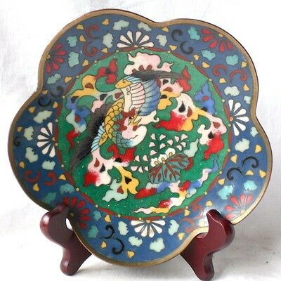 C19Th Japanese Enamel Petal Shaped Dish Decorated With An Exotic Bird