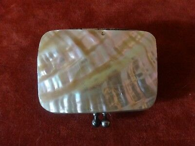 Antique French Rectangle Mother of Pearl Red Inside Coin/Change Purse