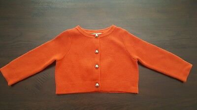 NWT Janie and Jack TAILORED TULIPS Orange Cropped Cardigan Sweater 6-12 months