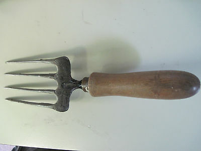 Antique Vintage Cast Iron & Wood Fork Old Garden Hand Tool Primitive 9.5""