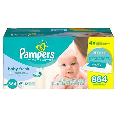 Box of 864 Pampers Soft Care Baby Wipes $0.03each Baby Fresh 12 Refill Packs
