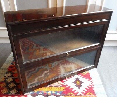 VINTAGE 1920s ANGUS STACKING BOOKCASE UP-AND-OVER GLASS DOORS MAHOGANY FINISH