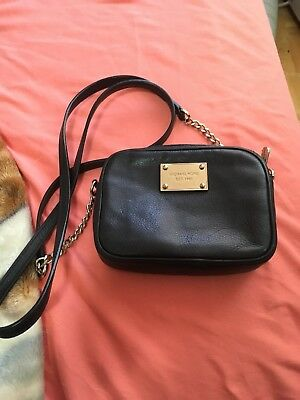 michael kors black cross body leather designer authentic