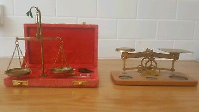 Antique/vintage brass jewellers balance scales x2 plus weights