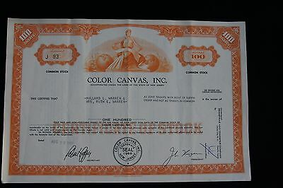 Vintage COLOR CANVAS, INC Stock Certificate 100 Shares Aug 29, 1969