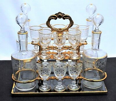 19th c Antique French Gilt Bronze & Etched Crystal Tantalus Decanter Cordial Set