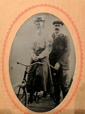 c. 1890 Original Antique Tintype of Couple on Tandem Bicycle VINTAGE PHOTO!!!