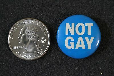 Vintage Not Gay Protest ? Humor ? Slogan ? Pin Pinback Button #20630