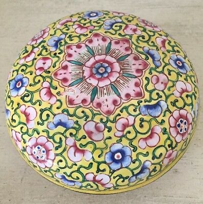 Antique Chinese Painted Enamel Round Covered Lidded Box Asian Floral Art