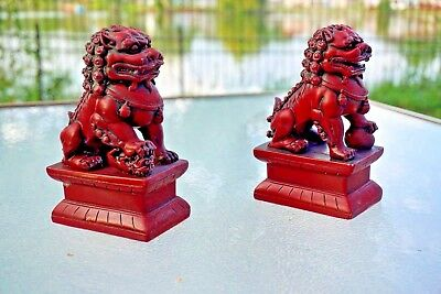 "6""5H Chinese Feng Shui Foo Dogs Statue Lucky Wealth Figurine Gift & Home VINTAGE"