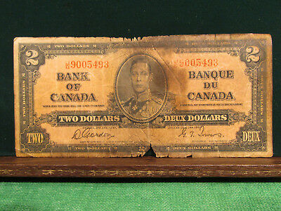 1937 Bank Of Canada Two Dollar Banknote Heavy Patina....