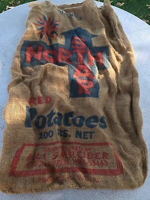 Vintage Advertising Burlap Bag Potato Sack Wall Art Decor Farmhouse Northstar MN