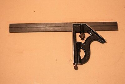 """Vintage L S Starrett Combination Square 12"""" No 4 Hardened Rule Machinist LSS"""