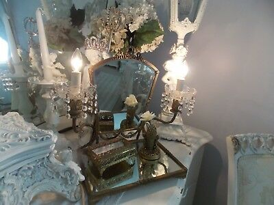Fab Old French Victorian Lighted Barbola Rose Swag Candelabra Dresser Mirror &&