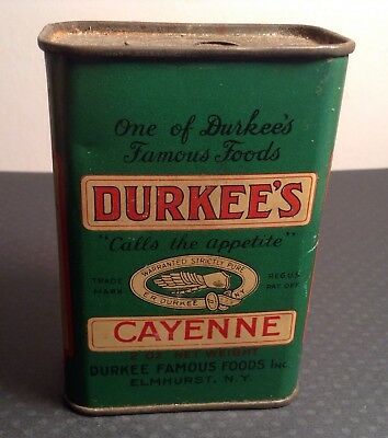 Antique Vtg Durkee's Cayenne Spice Tin By Durkees Famous Foods Elmhurst Ny