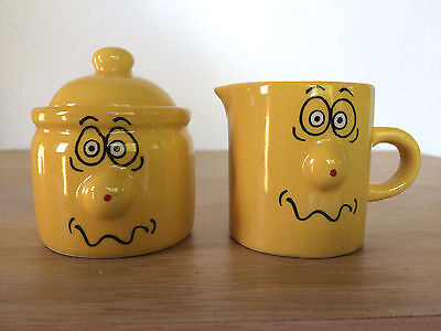 Creamer Sugar Bowl Set Funny Face Emoticon 3D Protruding Nose Mustard Yellow