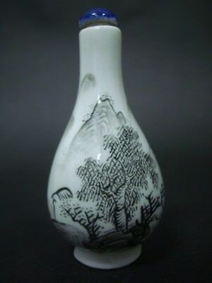 Rare Old Chinese Hand Painting Landscape Porcelain Snuff Bottle Signed
