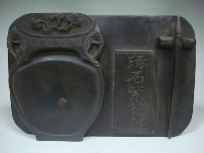 Excellent Old Heavy Chinese Hand Carving Ink Stone InkSlab Marks