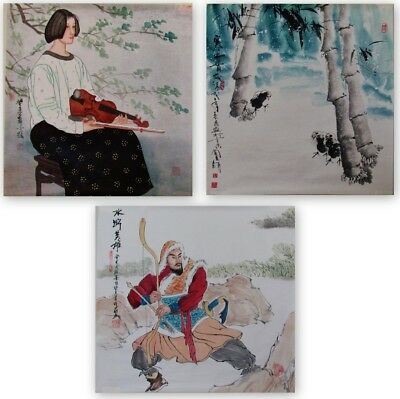 "Lot of 3 Vintage Chinese Paintings on paper, signed, unframed 24x24"" & 24x26"""