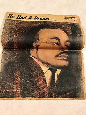 Vintage 1968: Chicago Sun Times: Martin Luther King. He Had A Dream, Special Sup