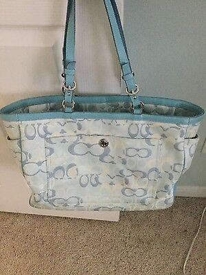 Authentic Coach Baby/ Diaper Bag Optic CC's blue multiple pockets