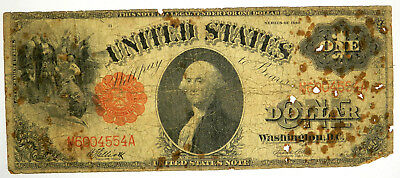 1917 $1 Legal Tender - Stain & Pinholes But Priced Right!