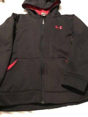 Under Armour Boys Red And Black Nice Zip Up Hoodie With Embroidered Logo, Size L