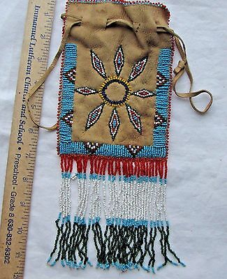 NATIVE AMERICAN INDIAN APACHE BEADED PIPE BAG PURSE TOBACCO BAG - EARLY 1900's