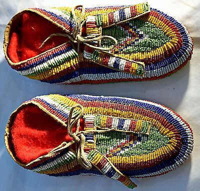 Native American Indian Ceremonial Split Tongue Fully Beaded Moccasins