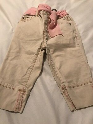 Baby Gap Girls Beige Pants With Pink Belt, Size 3t