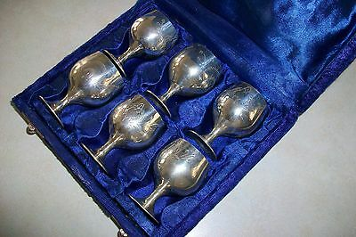 Six Silver Plated Cordials In Velvet Lined Box