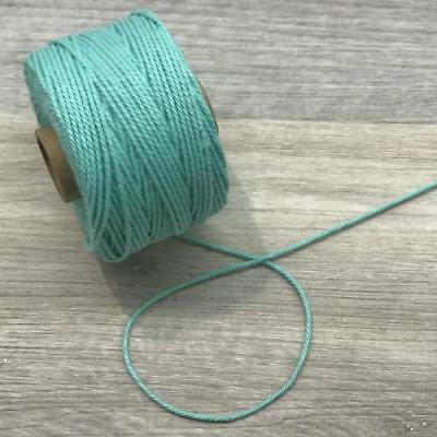 Aqua 2mm Cotton Macrame Rope Cord per 10 metres