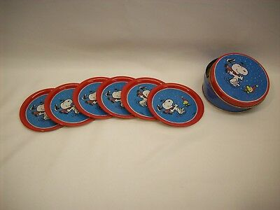 "Snoopy Peanuts set of 6 metal coasters w/container, ""Christmas"", Willitts #7861"