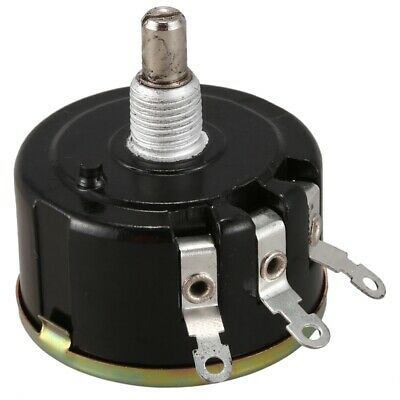 WX050 10K ohm 5W 6mm Round Shaft Rotary Wire Wound Potentiometer Black+Silv P8R8