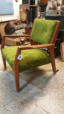 Vintage Mid Century Modern Arm Chair Danish Style Green Velvet