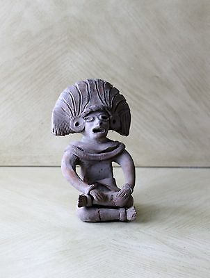Vintage Art Pottery Pre-Columbian Male Sitting Figurine Statue Clay Old
