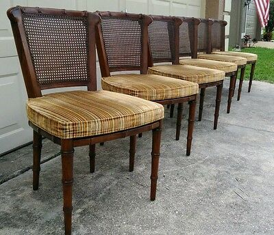 CLEARANCE SALE - $400 OFF - 6 Vintage Henredon Faux Bamboo & Cane Dining Chairs