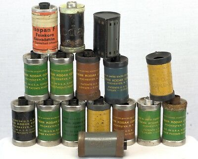 Collection Of 1940's 35Mm Film Cassettes, Kodak, Agfa (1 Unexposed) & Dover N.h?