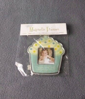 Stephan Baby Magnetic Baby Picture Frame 1.5x1.5 Birthday Boy Cupcake Design