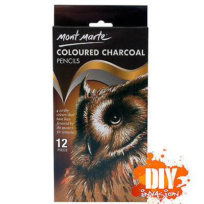 Mont Marte Coloured Charcoal Pencils 12 Pack Drawing Illustration Sketching Art