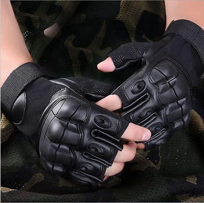Military Tactical Fingerless Outdoor Motorcycle Hard Knuckle HalfFinger Gloves U